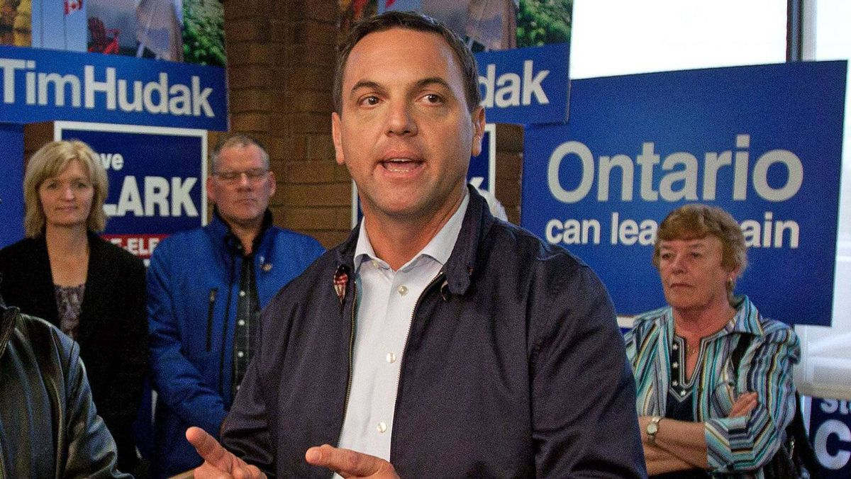 Ontario Progressive Conservative Leader Tim Hudak talks to supporters during a campaign stop in Brockville, Ont., on Sept. 7, 2011.