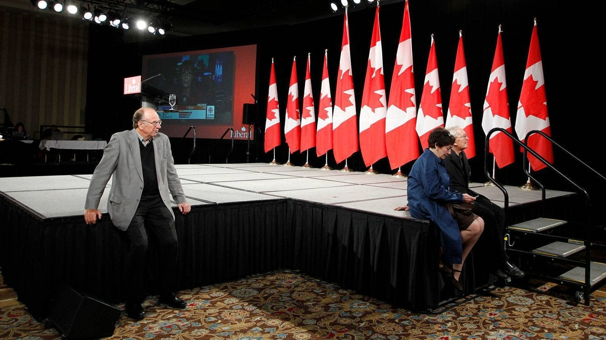 A very small crowd trickles into the Grand Ballroom to watch the results roll in on TV, before Michael Ignatieff and Liberal supporters gather on election night at the Sheraton Centre in Toronto on May 2, 2011.