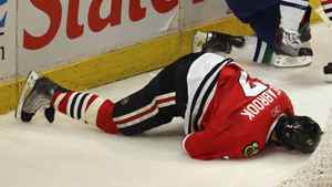 Brent Seabrook was hit behind the net in Game Three of the Western Conference Quarter-finals during the 2011 NHL Stanley Cup Playoffs at the United Center on April 17, 2011 in Chicago.
