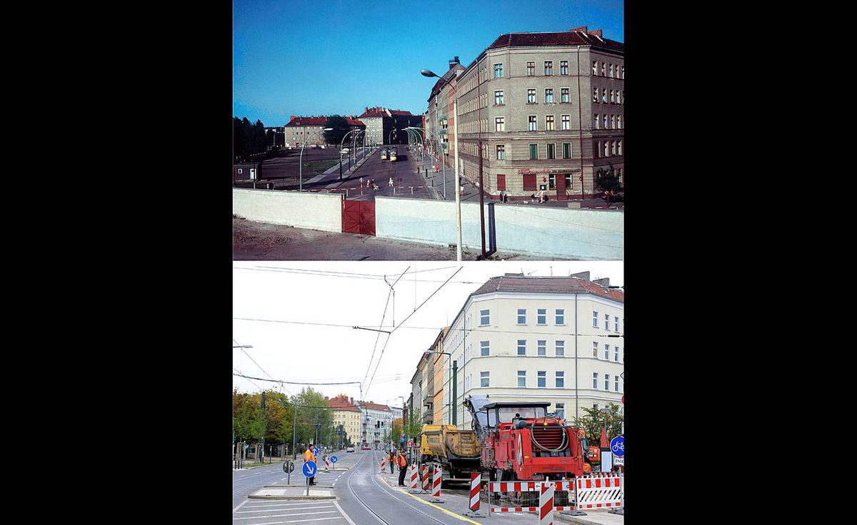 Combo shows two pictures taken from Berlin's Bernauer Strasse one with the Berlin Wall (top) separating the streeet taken in June 1968, and the same view (bottom) taken on October 20, 2009 without the wall. Germany will celebrate the 20th anniversary of the fall of the wall on November 9, 2009.