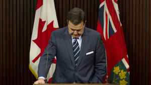 Ontario Finance Minister Dwight Duncan delivers his response to the Drummond report at a news conference in Toronto, Feb. 15, 2012.