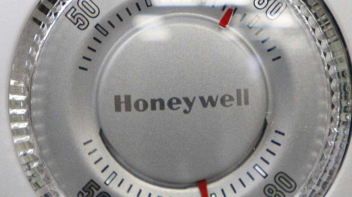 A Honeywell thermostat is shown in Portland, Ore., manufacturing company.