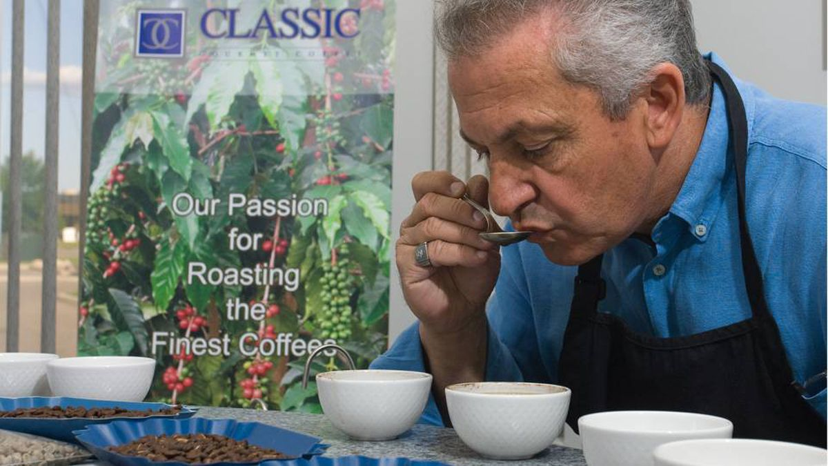 John Rufino uses energy-saving technology in his Classic Gourmet Coffee roasting plant.