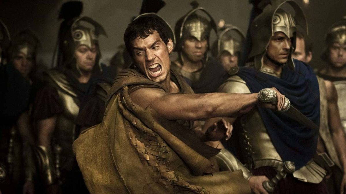 """Henry Cavill fights alone in a scene from """"Immortals"""""""