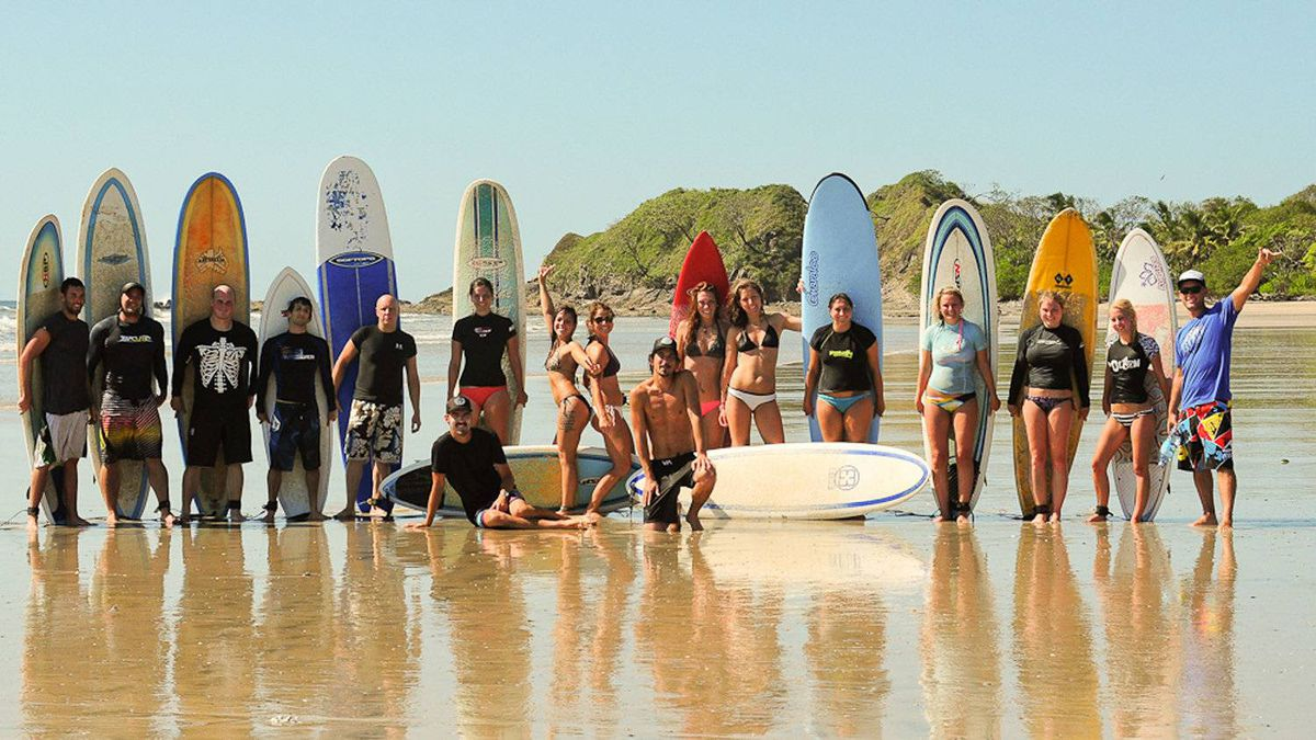 A Beach Travellers group in Costa Rica at the company's surf camp.
