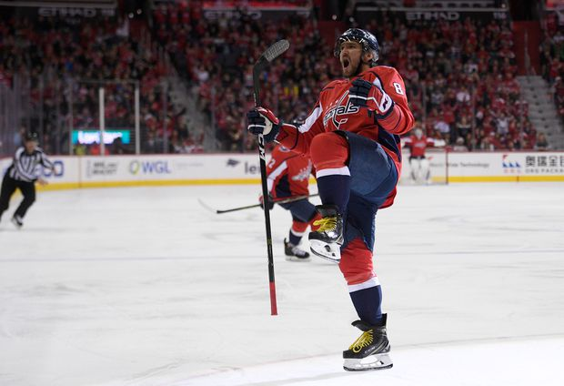 9e56b8982 Washington Capitals left wing Alex Ovechkin celebrates his goal during the  third period of a game against the New Jersey Devils