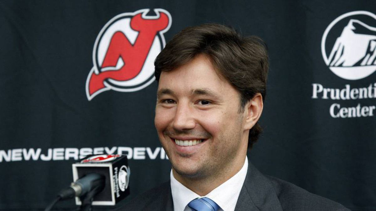 New Jersey Devils star forward Ilya Kovalchuk, of Russia, smiles during a news conference in Newark, N.J., Tuesday, July 20, 2010.
