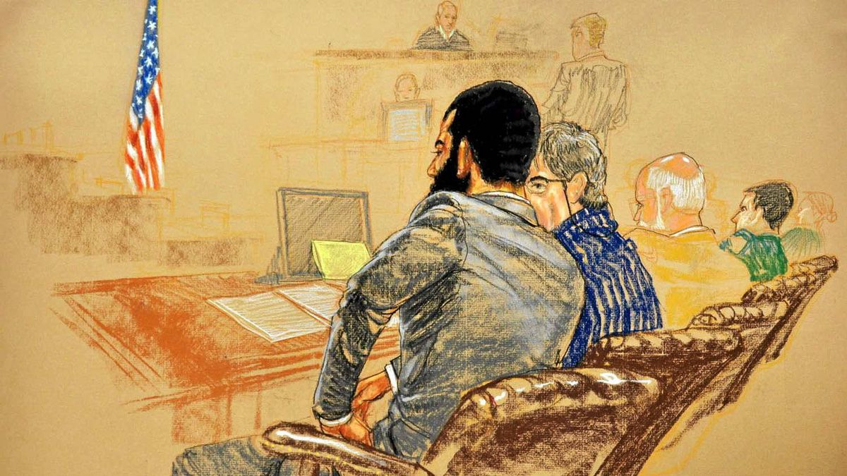 A courtroom sketch shows Omar Khadr attending jury selection at his war crimes trial on Aug. 11.