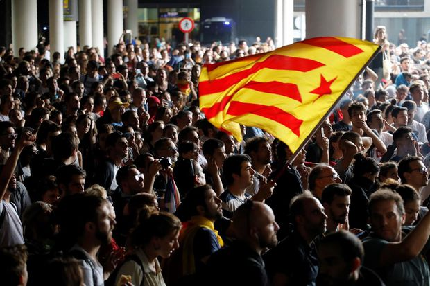 Protesters take to the streets in Barcelona as Spain jails nine Catalan separatist leaders for independence drive