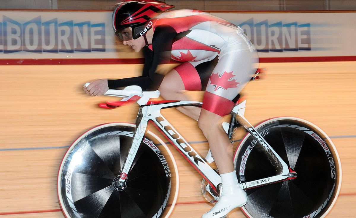 Tara Whitten of Edmonton is a two-time world champion in omnium cycling.