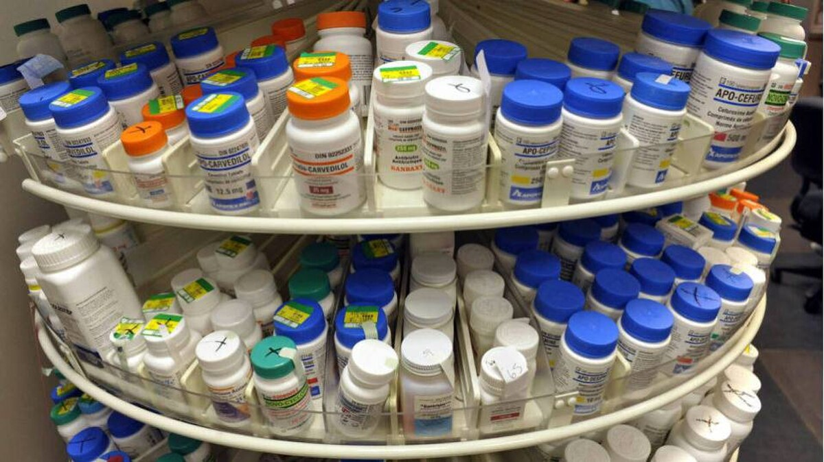 A rack of pharmaceuticals at Toronto's Sunnybrook Hospital pharmacy.