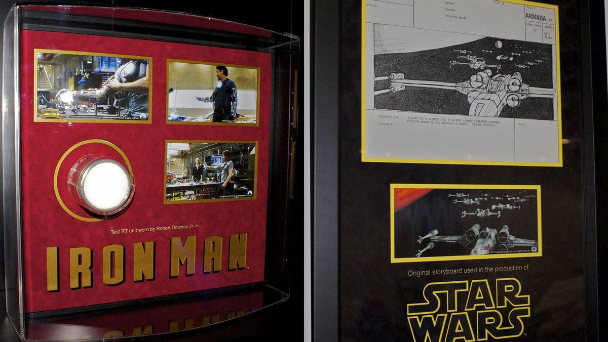 Ryan van Barneveld's collection includes the chest piece used to power Robert Downey Jr.'s suit in his role as Tony Stark in Iron Man; and a storyboard from the first Star Wars film.