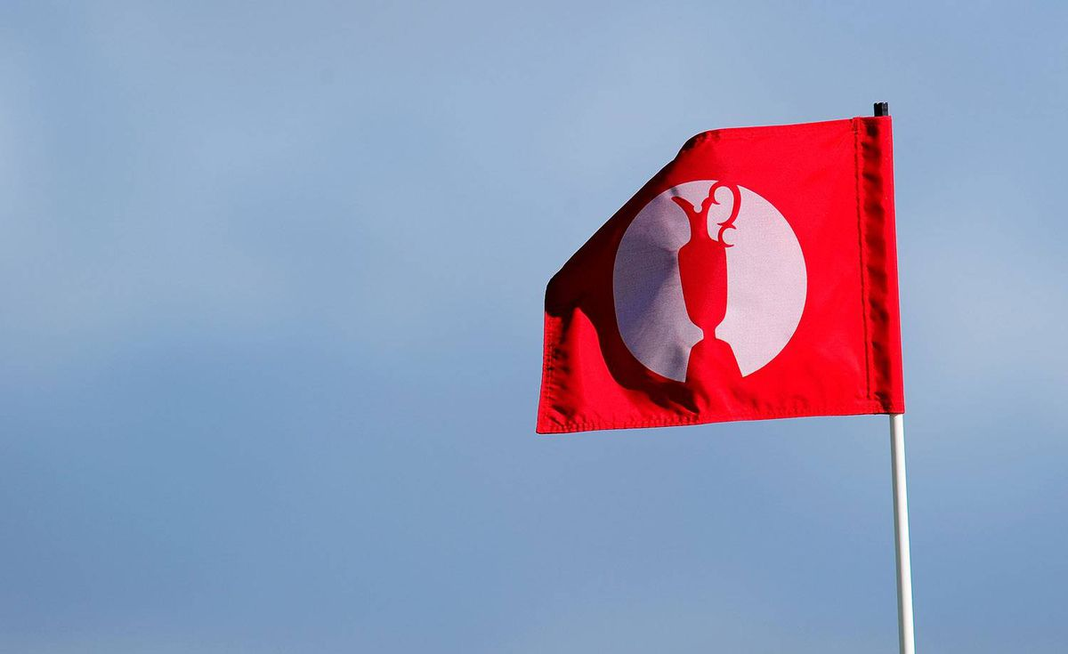 A flag blows in the wind during practice for the 139th Open Championship on the Old Course, St Andrews