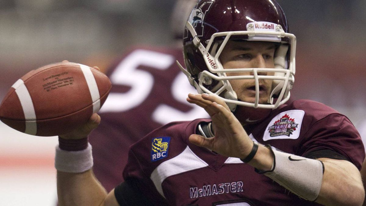 Former McMaster University quarterback Kyle Quinlan has been offered a CFL contract according to a report by The Canadian Press. FILE PHOTO: THE CANADIAN PRESS/Jonathan Hayward