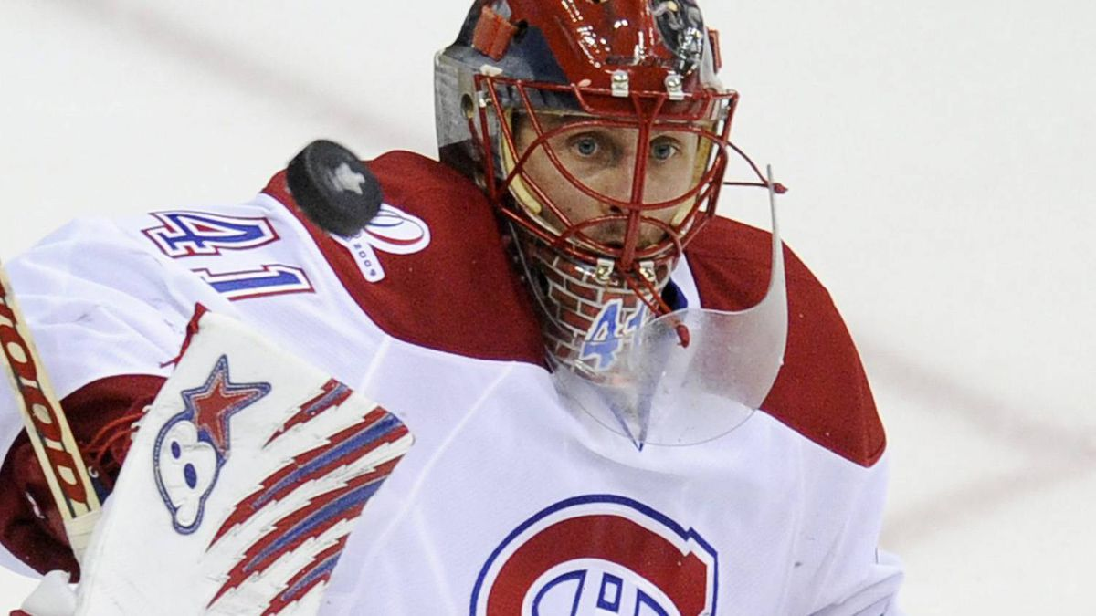 Montreal Canadiens goalie Jaroslav Halak, of Slovakia, keeps his eye on the puck against the Washington Capitals during the third period of Game 7 of the NHL hockey playoff series, Wednesday, April 28, 2010, in Washington. The Canadiens won 2-1, eliminating the Capitals from the playoffs. (AP Photo/Nick Wass)