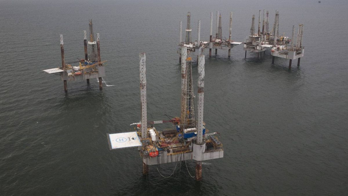 Unused oil rigs sit in the Gulf of Mexico near Port Fourchon, Louisiana August 11, 2010.