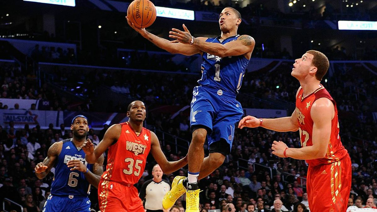 6fbb1c488256 Derrick Rose  1 of the Chicago Bulls and the Eastern Conference goes up for  a