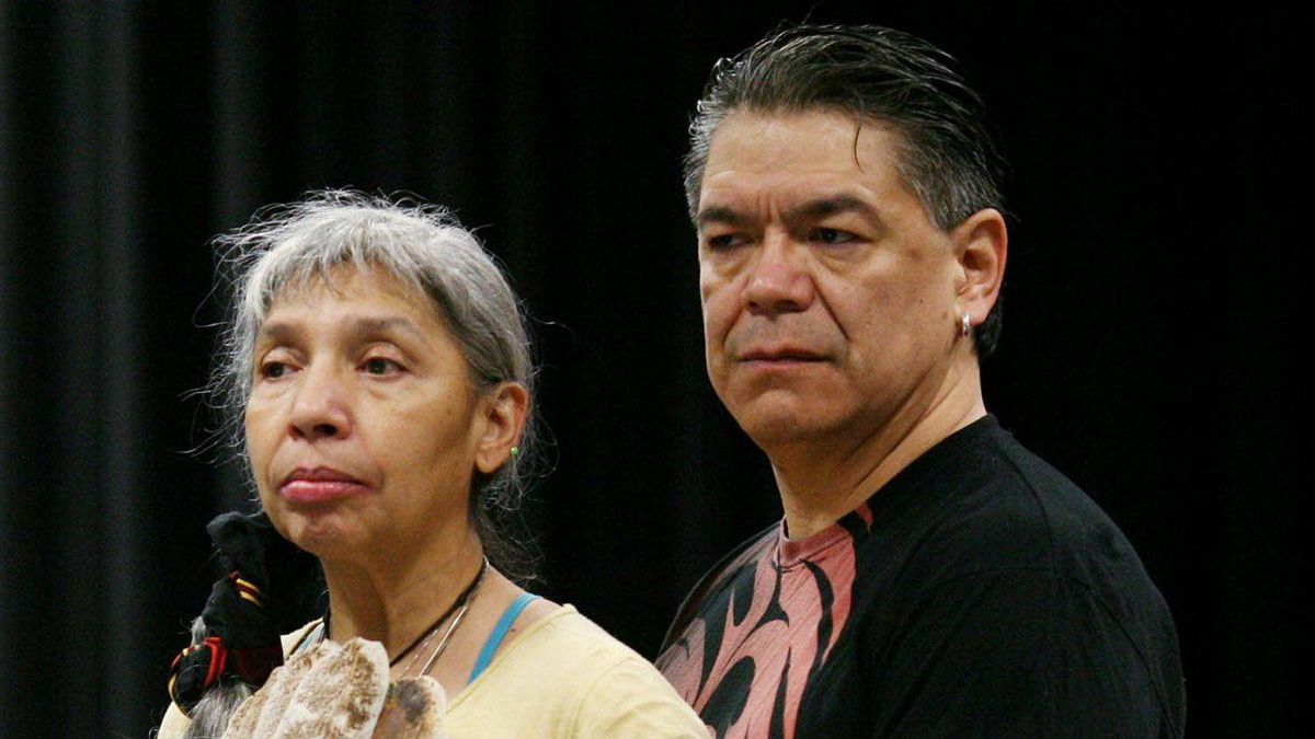 Monique Mojica as Goneril and Lorne Cardinal as Albany in rehearsal for the NAC production of King Lear.