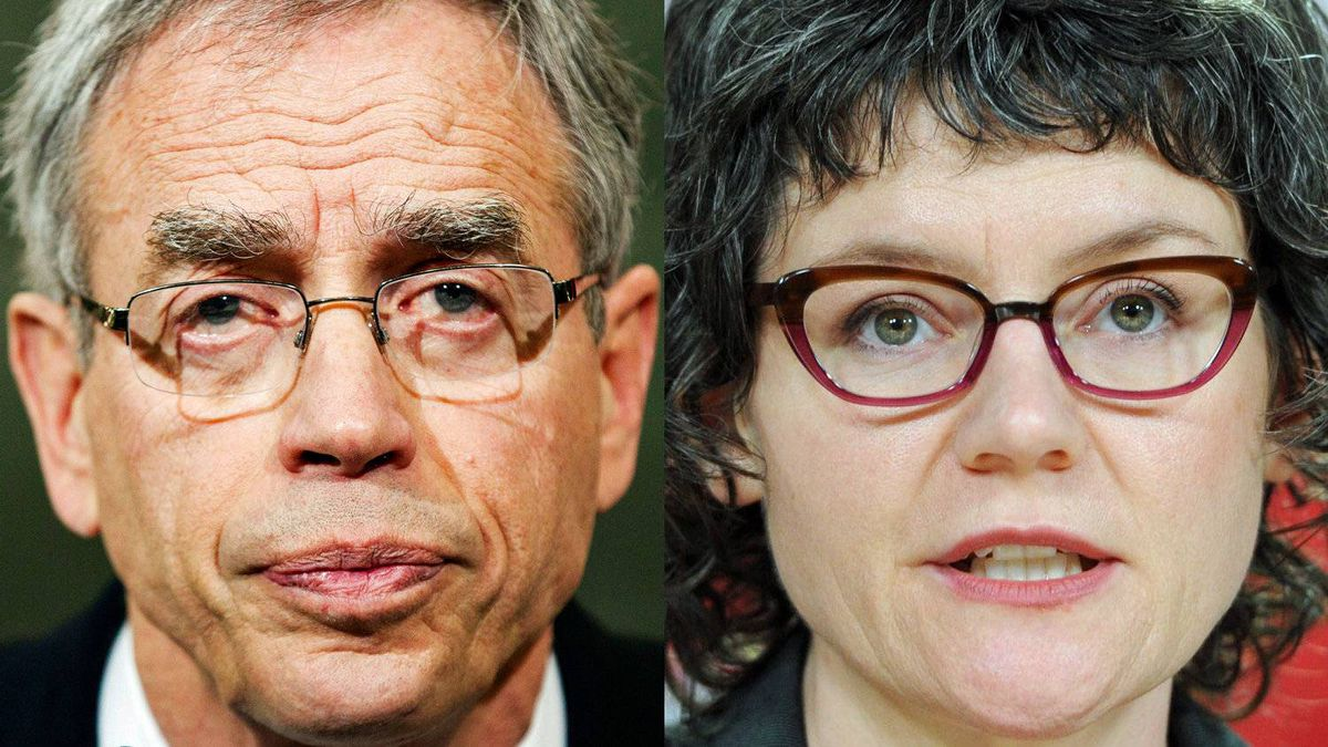 Natural Resources Minister Joe Oliver and NDP environment critic Megan Leslie are shown in a photo combination.