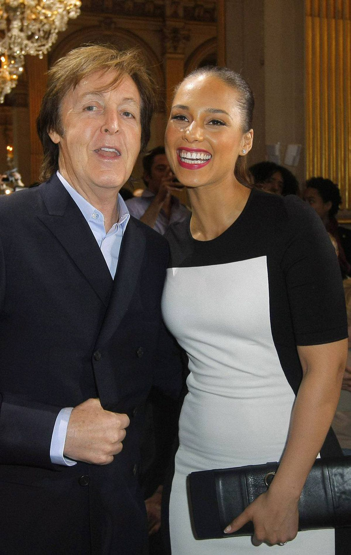 "Paul McCartney and Alicia Keys posed together for a photo before the Stella McCartney show on Monday morning. Sure, they were all smiles before hearing the runwayplay list, which included the electro-rap track I Fink U Freaky by Die Antwoord. ""Hey, you call thaaat music?!"""