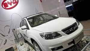 The dual-mode electric S6DM sport utility vehicle from Chinese automaker BYD Co. is displayed at the North American International Auto Show on Monday, Jan. 10, 2011, in Detroit. (AP Photo/Tony Ding)