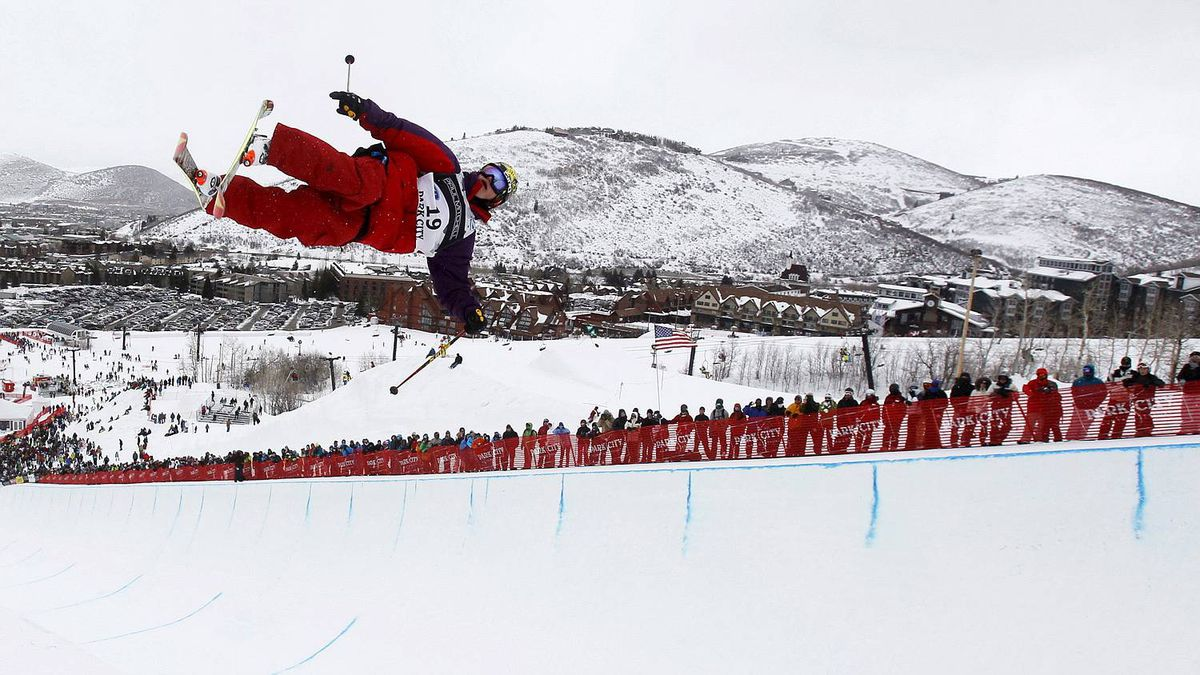 Michael Riddle of Canada gets some air during the men's Half Pipe finals on his way to finishing first at the FIS Freestyle World Championships in Park City, Utah, Feb. 5, 2011.