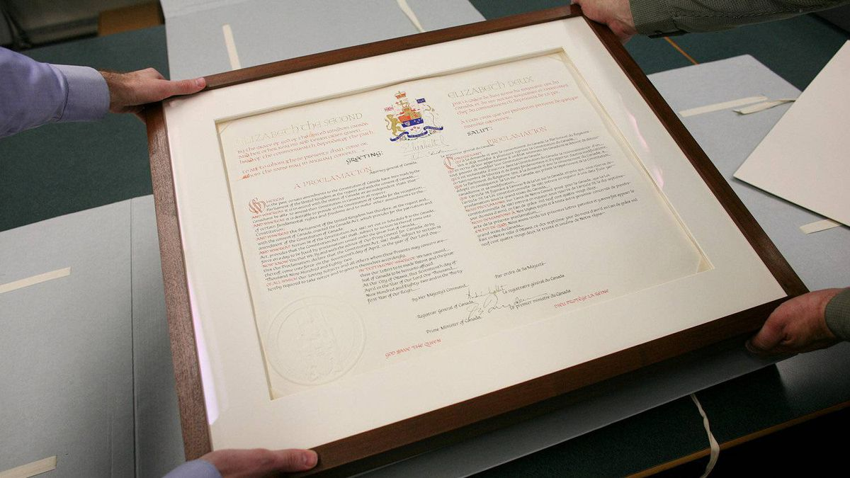 The Proclamation of the Constitution Act of 1982 is put back into storage at The Library and Archives Canada Preservation Centre in Gatineau, Que.