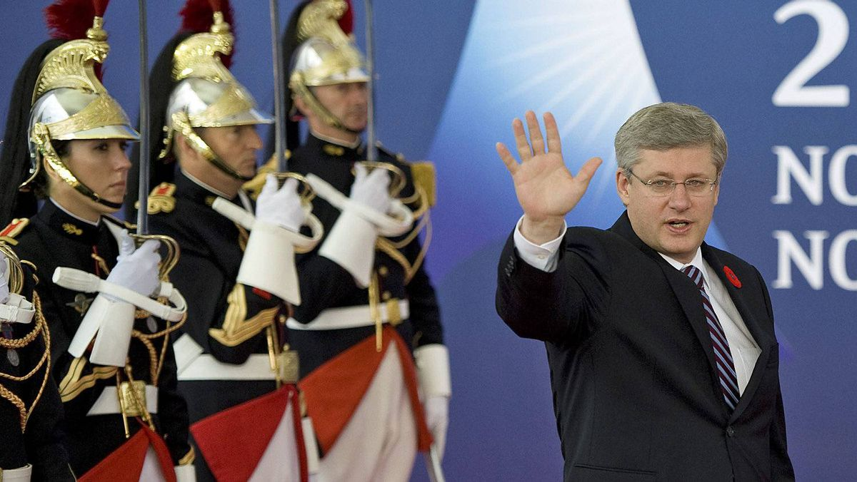 Prime Minister Stephen Harper arrives for the second day of the G20 Summit in Cannes, France, on Nov. 4, 2011.