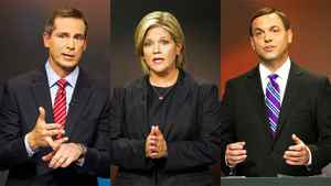 Ontario Liberal Leader Dalton McGuinty , the NDP's Andrea Horwath and Progressive Conservative Leader Tim Hudak are shown in a photo combination taken from the provincial election debate in Toronto on Sept. 27, 2011.