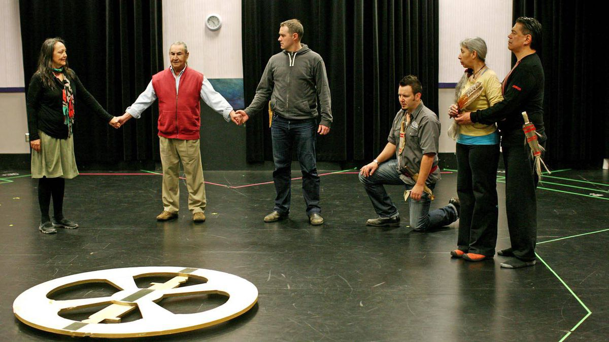 From left, Tantoo Cardinal as Regan, August Schellenberg as King Lear, Meegwun Fairbrother as Burgundy, Craig Lauzon as Kent, Monique Mojica as Goneril and Lorne Cardinal as Albany in the NAC production of Shakespeare's King Lear.