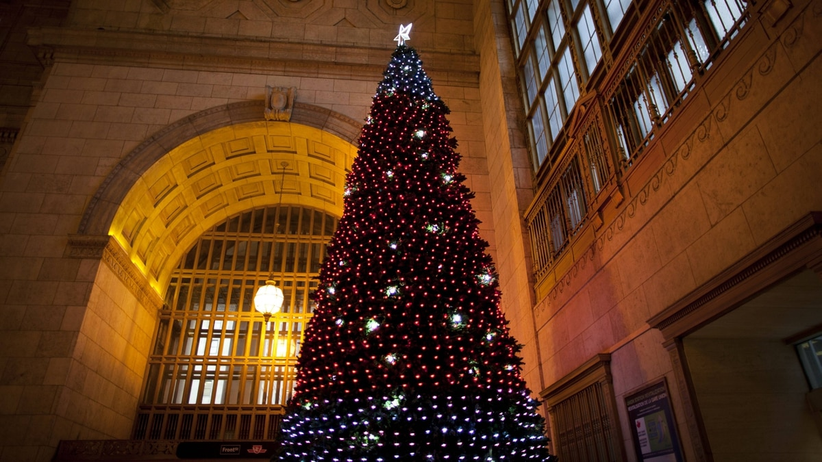 Christmas tree in Union Station in Toronto Dec. 15, 2011.