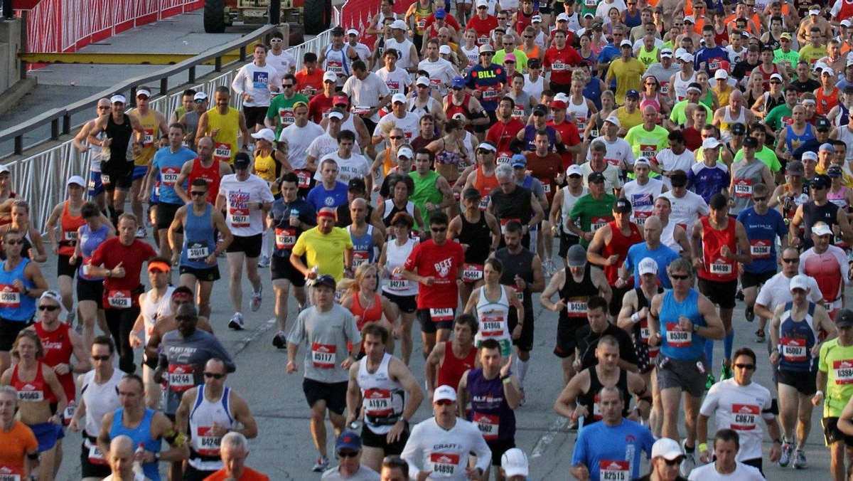 Thousands of runners participate in the Bank of America Chicago Marathon on Oct. 9, 2011 in Chicago, Illinois.