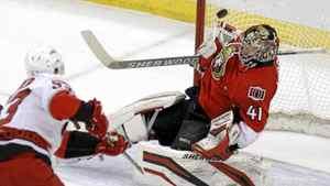 Ottawa Senators goaltender Craig Anderson makes a save on the Carolina Hurricanes' Jeff Skinner in Ottawa, Tuesday.