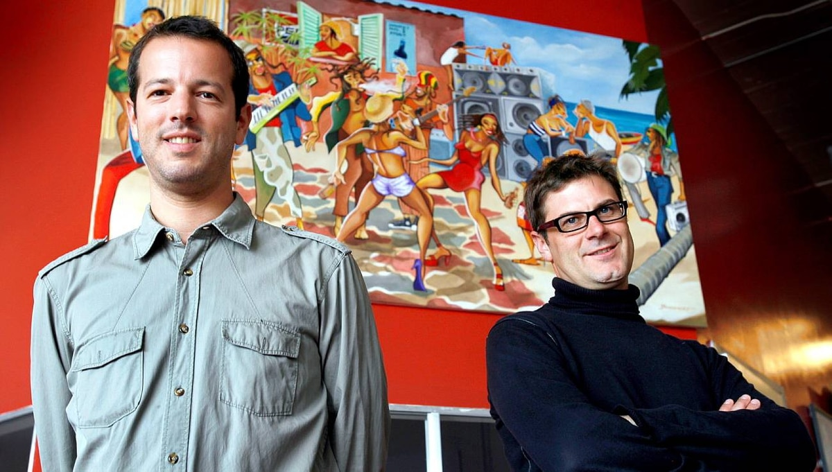 Mathieu Senard, left, and Edouard Rollet, co-founders of Alter Eco Americas, based in San Francisco, Calif., pose in their office, Monday, April 19, 2010. AP PHOTO/Dino Vournas