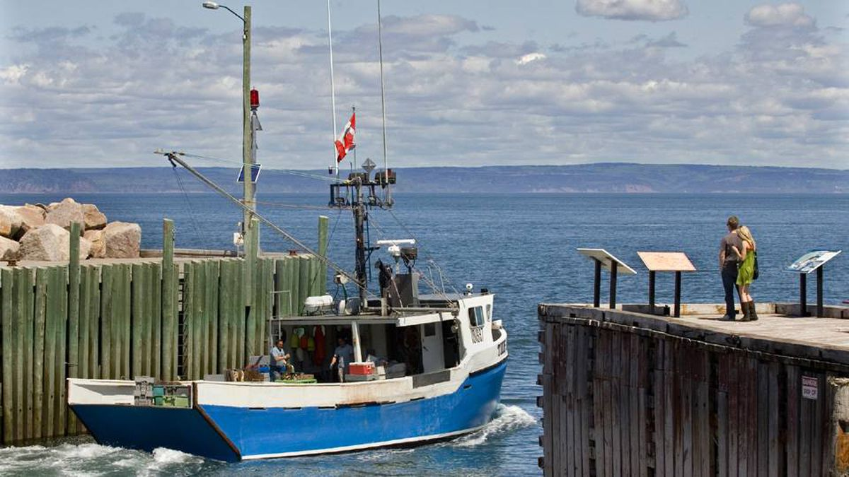 A fishing boat heads out into the Bay Of Fundy from Hall's Harbour, N.S. on Monday, June 8, 2009. Voters go to the polls across Nova Scotia today. Opinion surveys show the New Democratic Party with a lead in the close race followed by the Liberals, with the governing Progressive Conservatives in third place. An NDP victory would be a historic first in the Atlantic provinces.