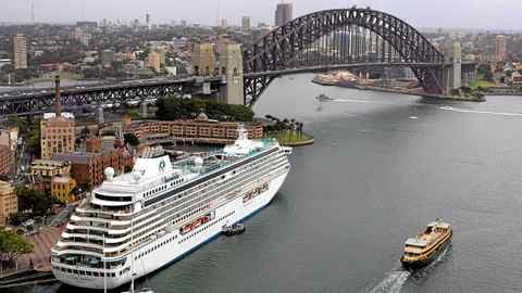Crystal Serenity berths at Sydney's historic Rocks area.