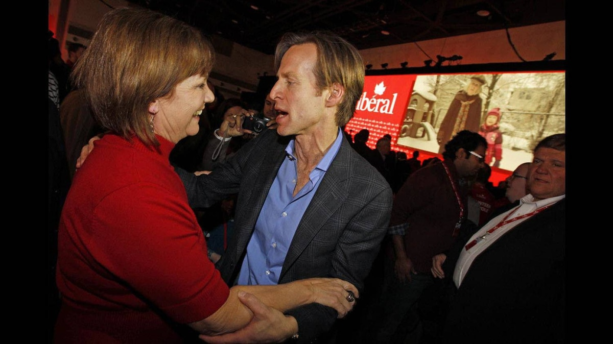 Mike Crawley , new President of the Liberal Party of Canada , speaks with Sheila Copps after defeating her on the final day of the Liberal Biennial Convention in Ottawa on Jan. 15, 2012.