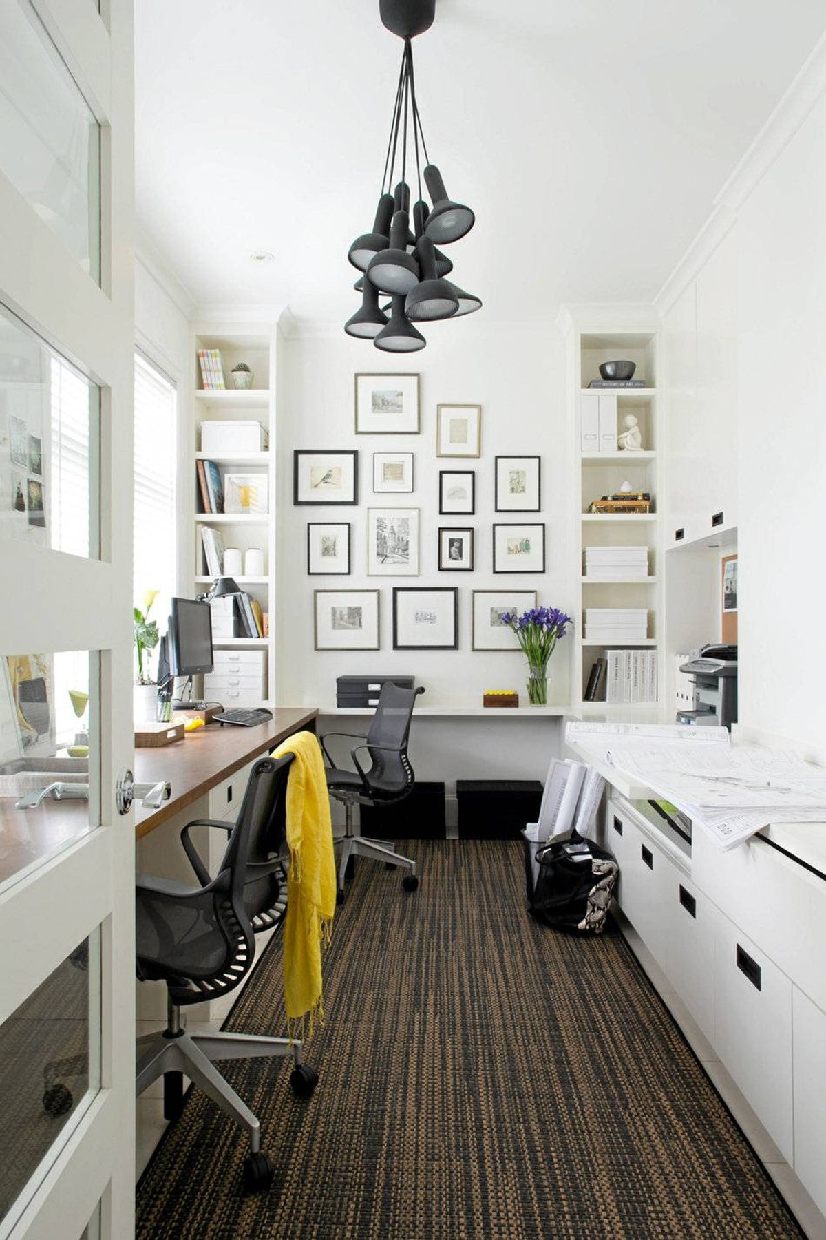 The home office of Vancouver developers Peter and Brenda Juric. Interior design by Kelly Deck Design.