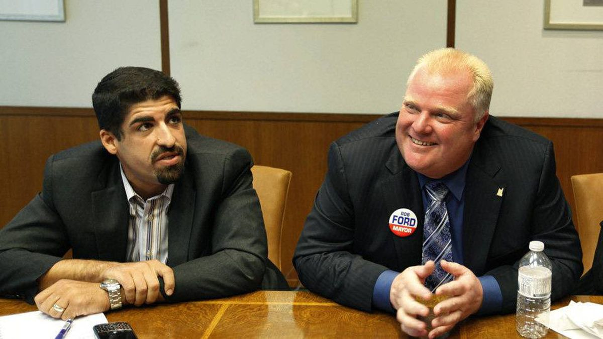 Toronto City Mayoral Candidate Rob Ford, right, and Campaign Manager Nick Kouvalis, left.