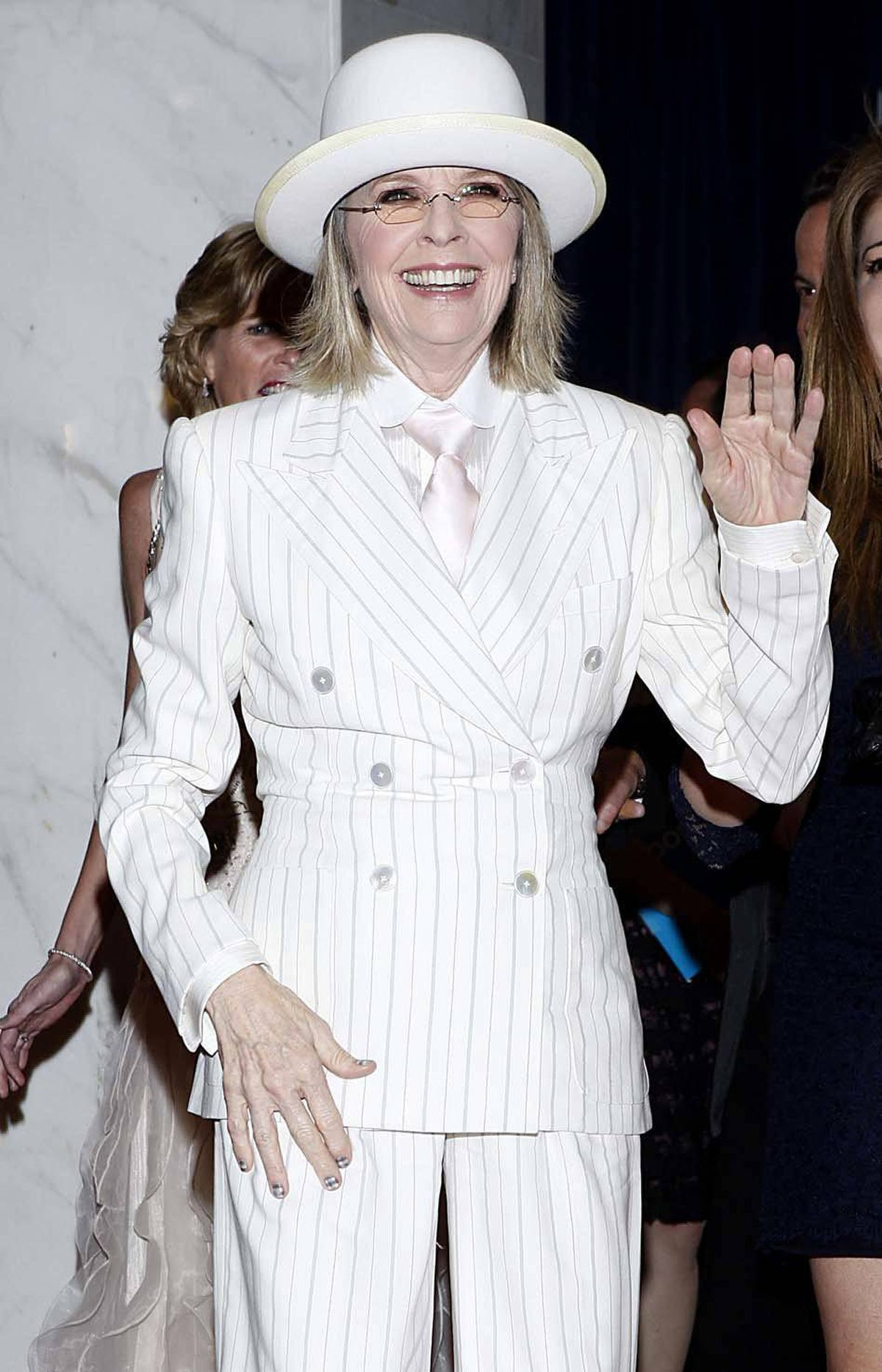 A freshly bleached Diane Keaton arrives at the White House Correspondents' dinner in Washington, D.C., on Saturday.