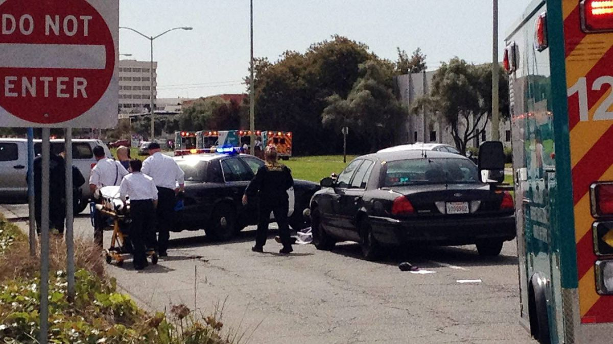 An image taken with a cell phone shows the early moments of the scene outside Oikos University in Oakland, Calif., Monday, April 2, 2012.