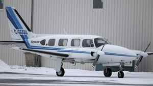 A Keystone Air Service eight-seat Piper PA-31 Navajo sits at St. Andrews Airport, just north of Winnipeg, on Jan. 10, 2012.