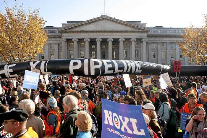 Demonstrators call for the cancellation of the Keystone pipeline during a November rally in Washington.