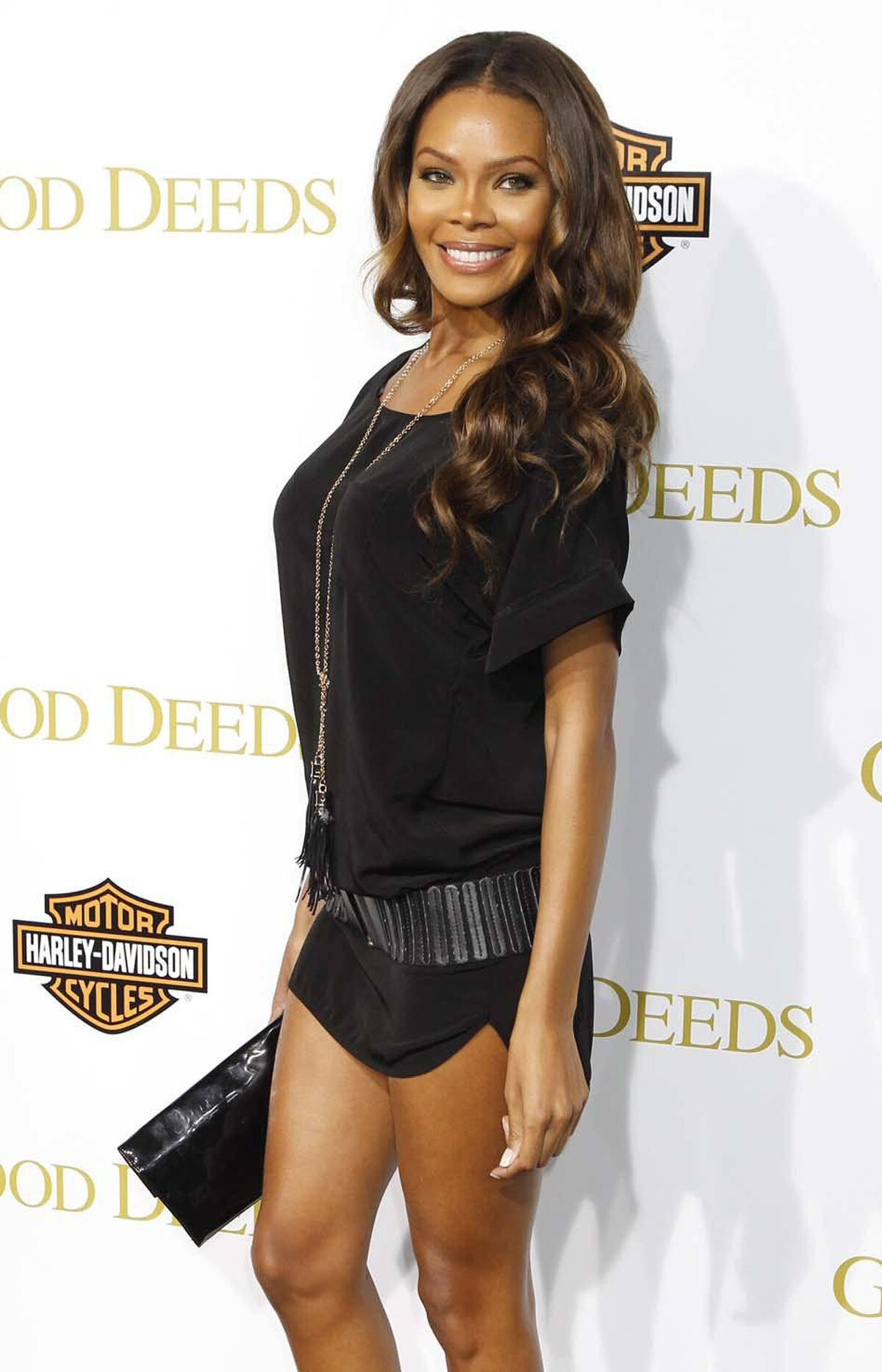"Actress Crystle Stewart is one deep breath away from a major wardrobe malfunction at the premiere of the film ""Good Deeds"" in Los Angeles last week."