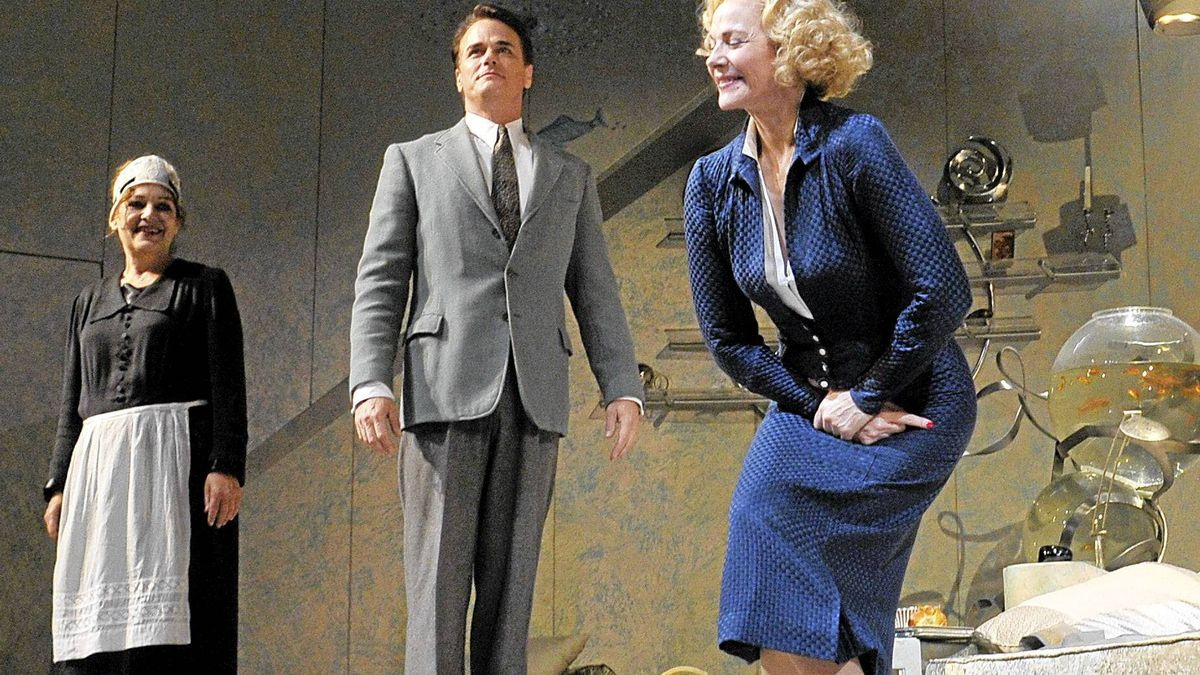 Paul Gross watches as Kim Cattrall takes a bow at end of the opening show of Private Lives by Noel Coward at the Royal Alexander Theatre in Toronto, Sept. 25 , 2011.