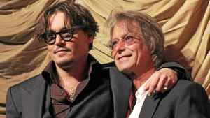 """Director Bruce Robinson with Johnny Depp at the premiere of """"The Rum Diary"""" in Los Angeles on Oct. 13, 2011."""