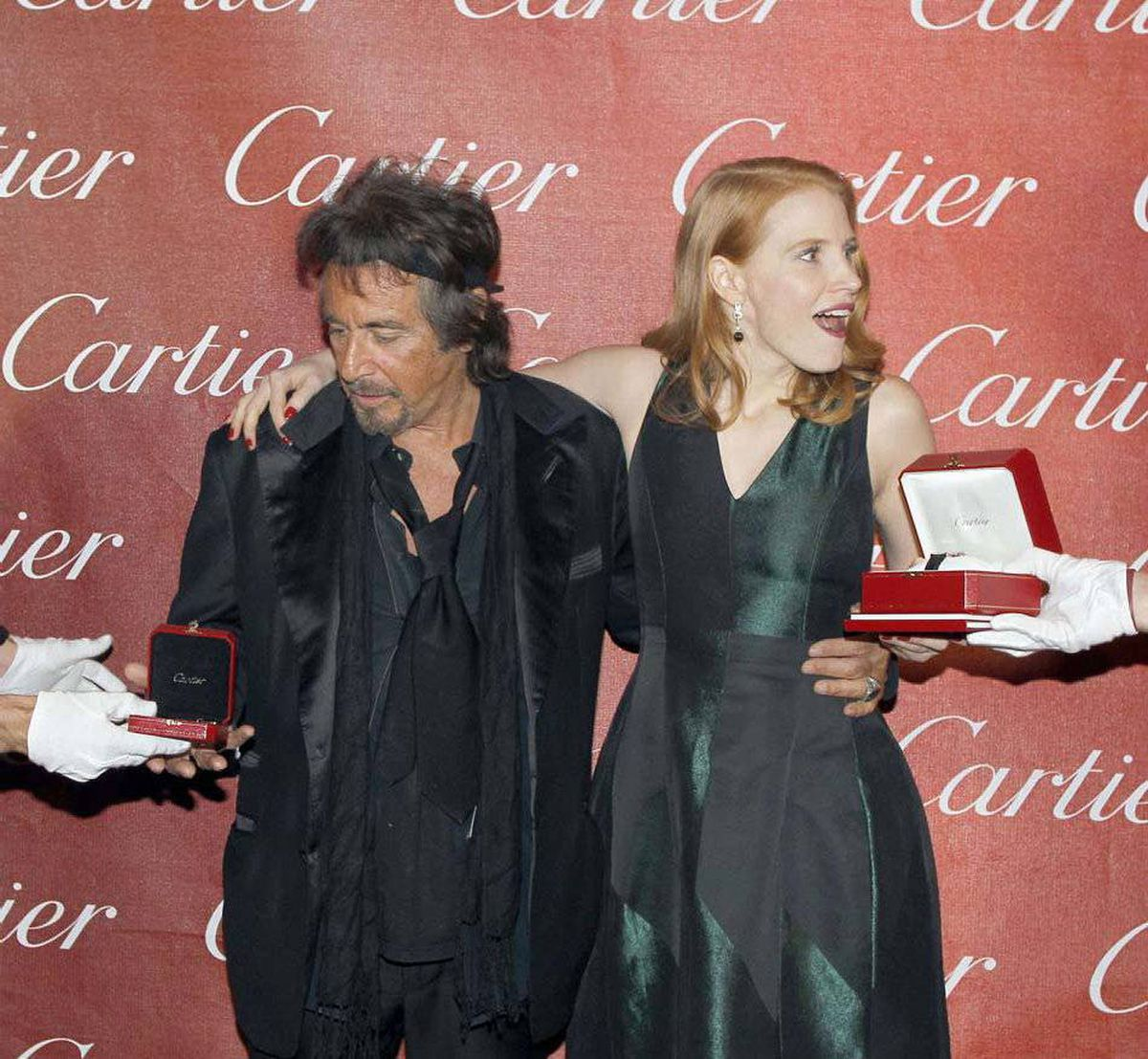 Al Pacino and Jessica Chastain didn't win any bongs at the Annual Palm Springs International Film Festival last week but the pampered millionaire actors did get free Cartier watches and jewellery to help buffer their suffering.