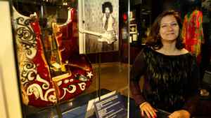 In 2003, Janie Hendrix, sister of the legendary Jimi, stands next to fragments of the Fender Stratocaster guitar that Hendrix smashed at the Saville Theater in London, Eng., on June 4, 1967. It is one of the numerous displays at the Jimi Hendrix Gallery in Seattle, Wash.