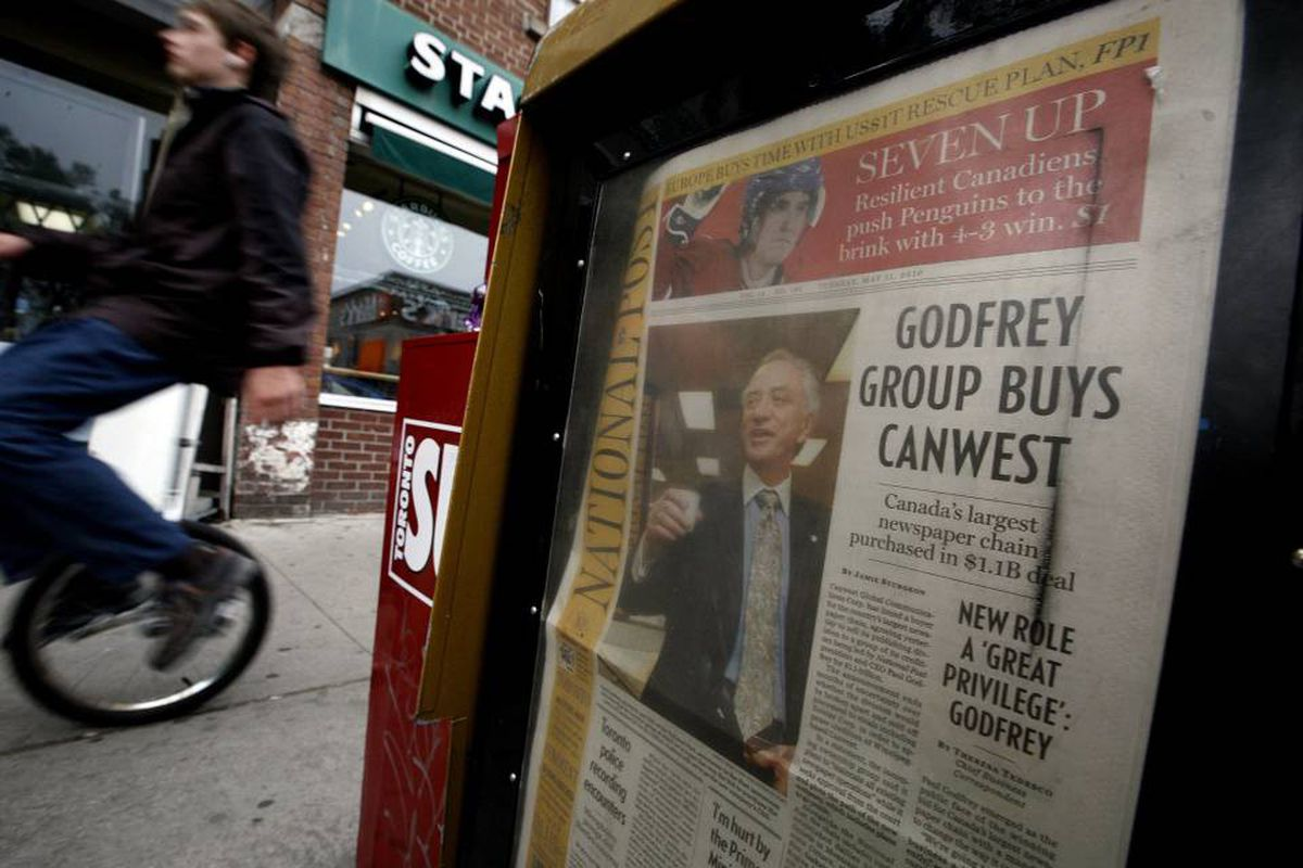Tuesday's National Post announcing the purchase of CanWest's newspapers.