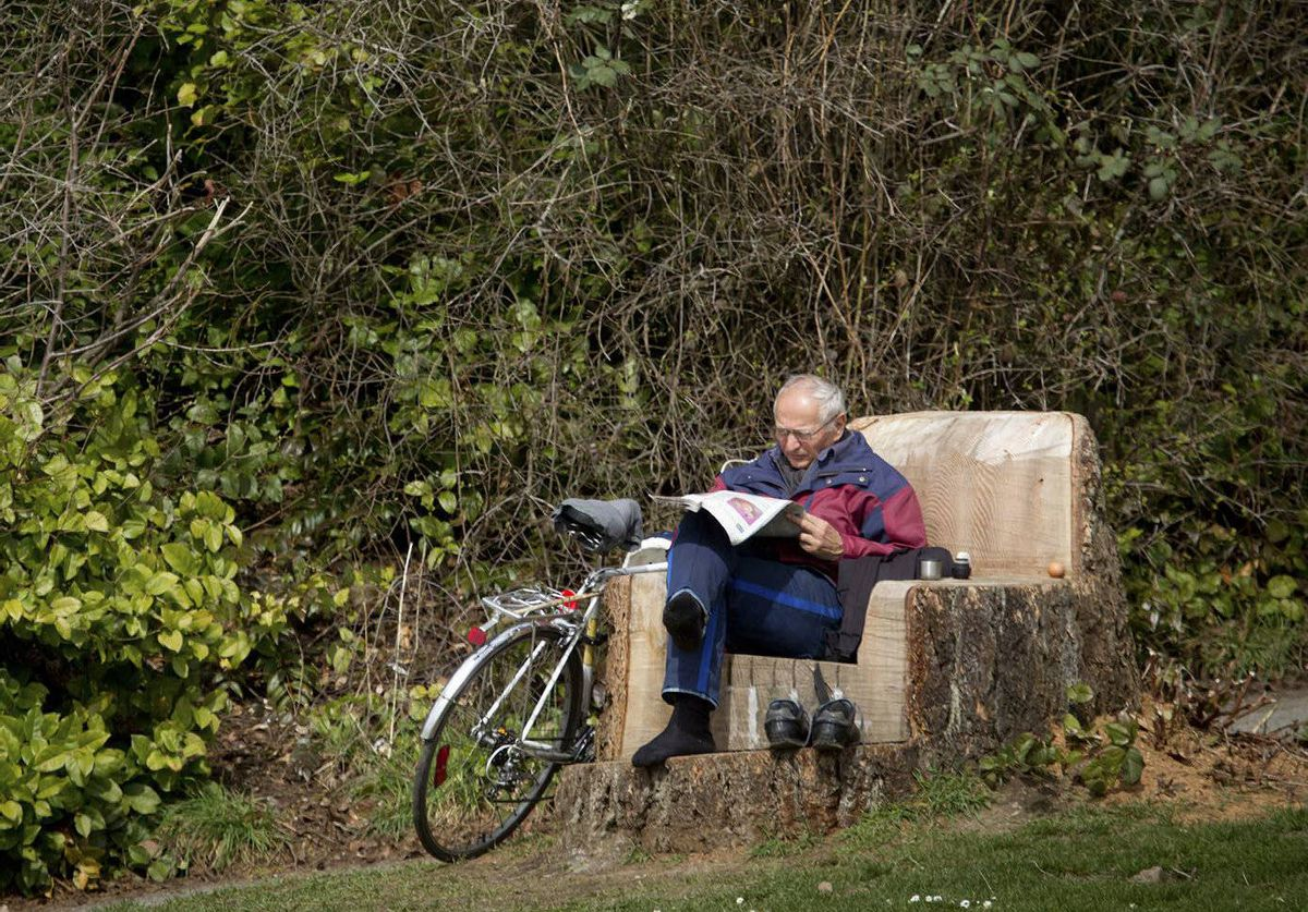 A man reads on a chair fashioned from an old tree stump at Stanley Park in Vancouver, B.C.